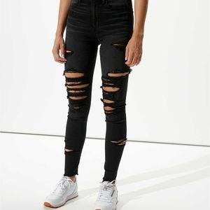 American Eagle Black Distressed Skinny Jeggings